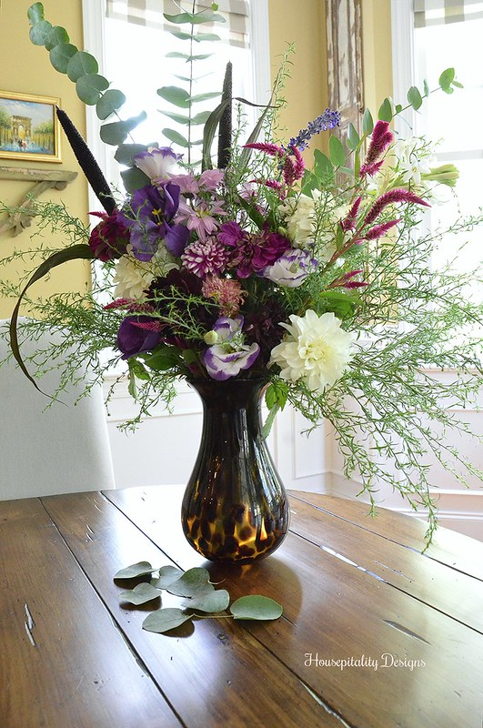 Floral Arrangment - Pottery Barn Animal Print Vase - Housepitality Designs