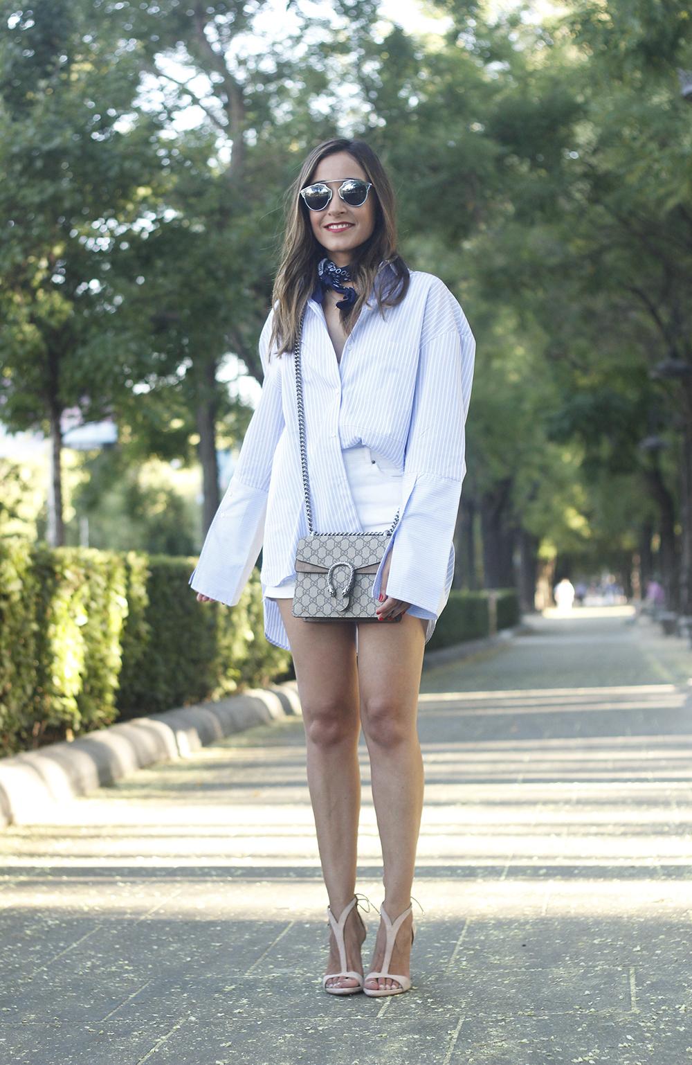 boyfriend striped shirt gucci bag so real dior sunnies denim shorts summer outfit05