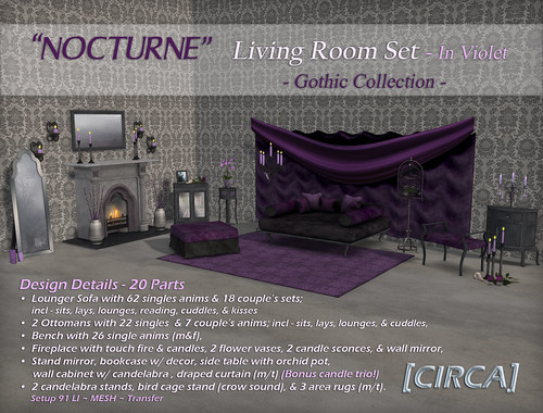 "@ SWANK ~ [CIRCA] - ""NOCTURNE"" - Living Room Set - In Violet"