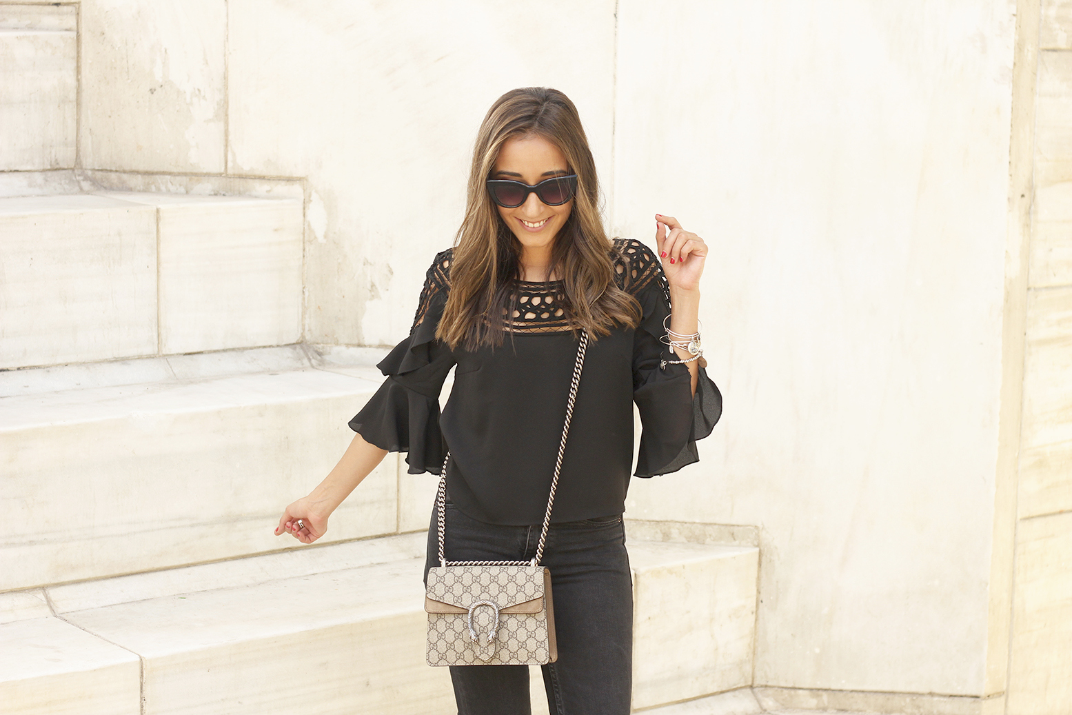 black top black jeans heels gucci bag sunnies outfit fashion style08