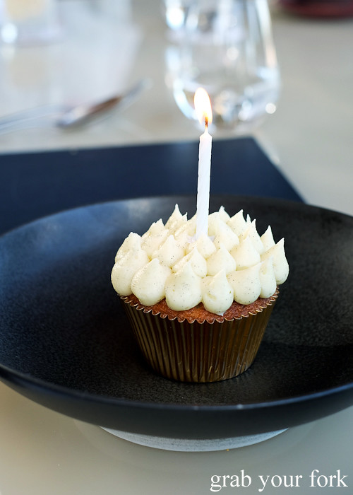 Birthday cupcake at Bennelong Restaurant Sydney