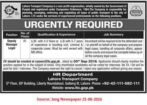Lahore Transport Company Job