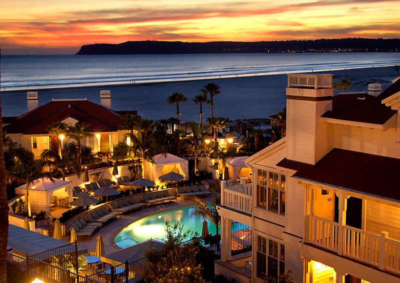 Beach Village at the Hotel del Coronado at sunset