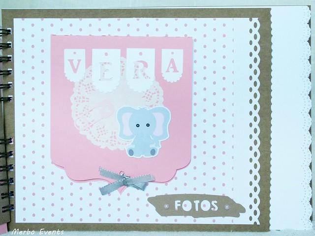 Libro de firmas y receurdos Bautizo de niña. Temática elefantita www.merboevents.com