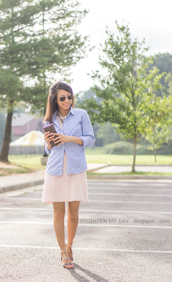 mixed metal necklace, blue striped button up shirt, pink wool shift dress, taupe clutch, jeweled ankle tie sandals