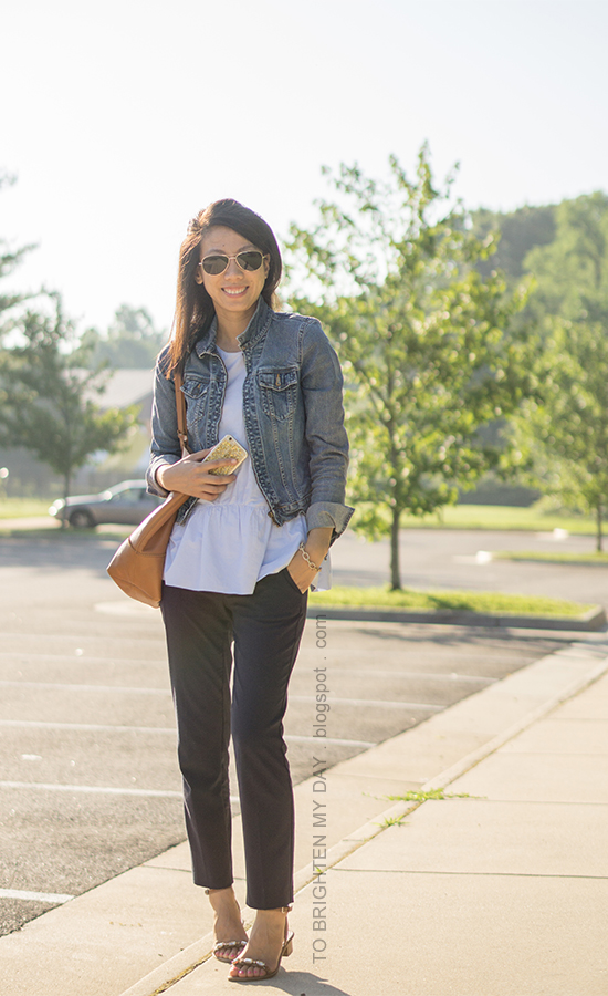 denim jacket, baby blue peplum top, cognac brown tote, navy pants, brown jeweled block sandals