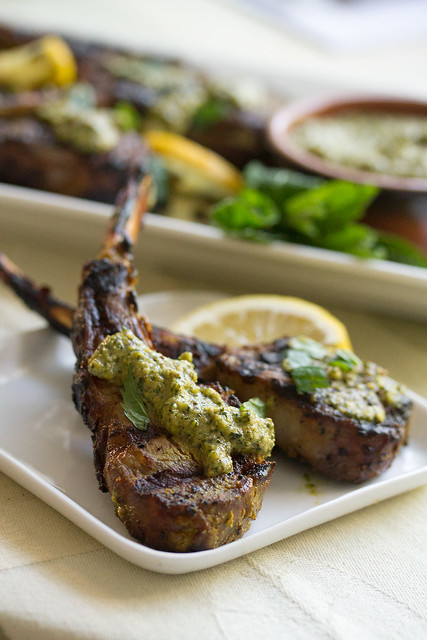Indian Spiced Lamb Lollipops with Mint Pesto