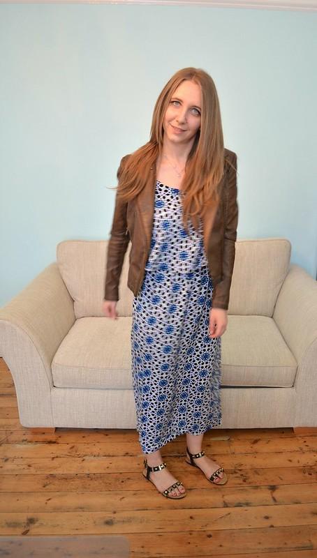 JD Williams Blue Tile Print Maxi Dress 6