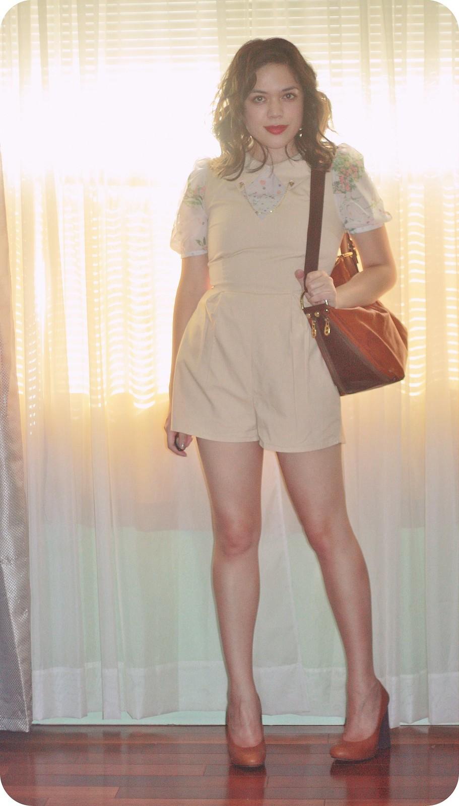 Sweets and Hearts style: outfit featuring Disaya romper, Topshop heels, Tiny Musings handmade ice cream collar clips