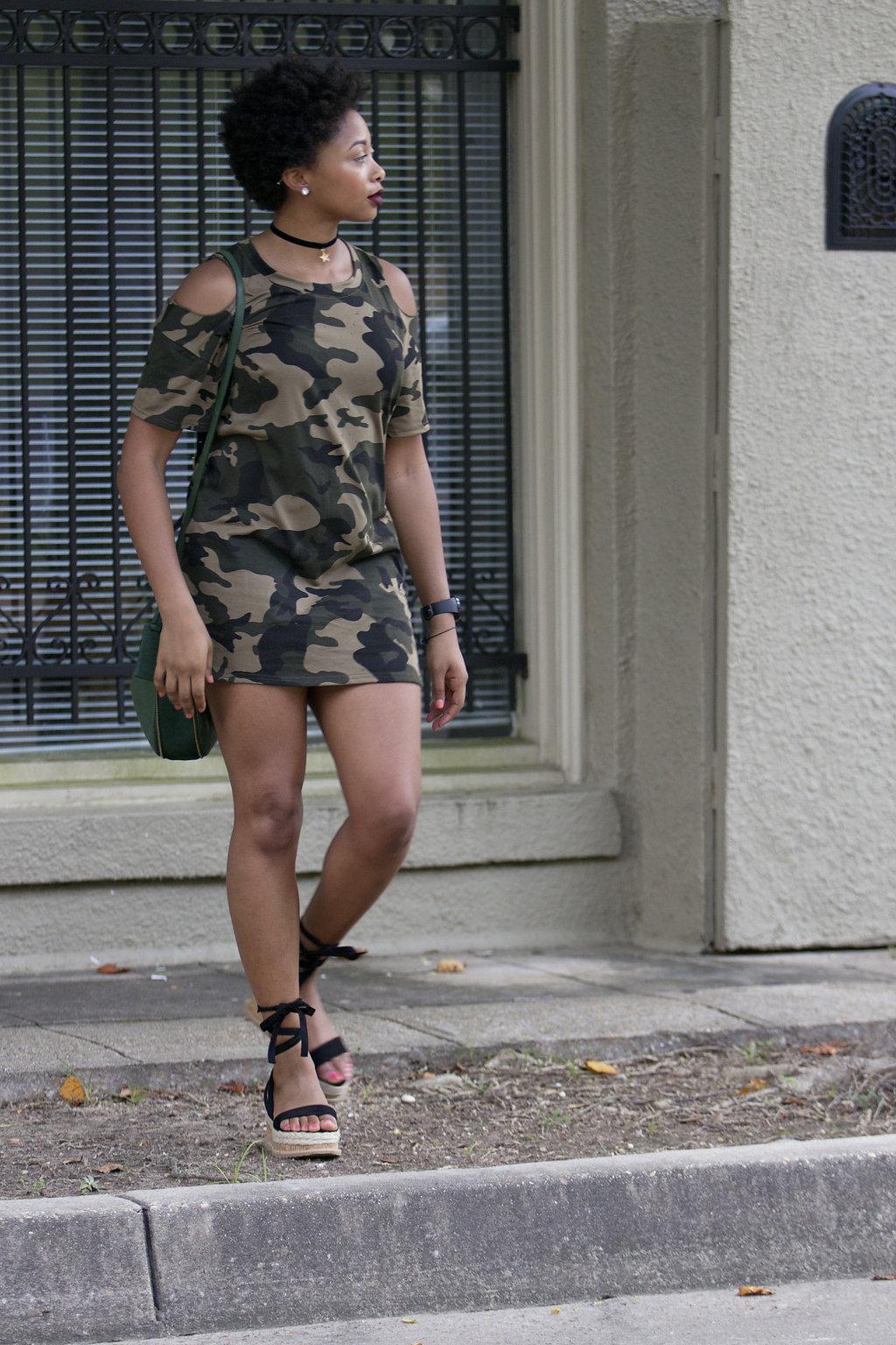 how to wear a camouflage dress, the beauty beau