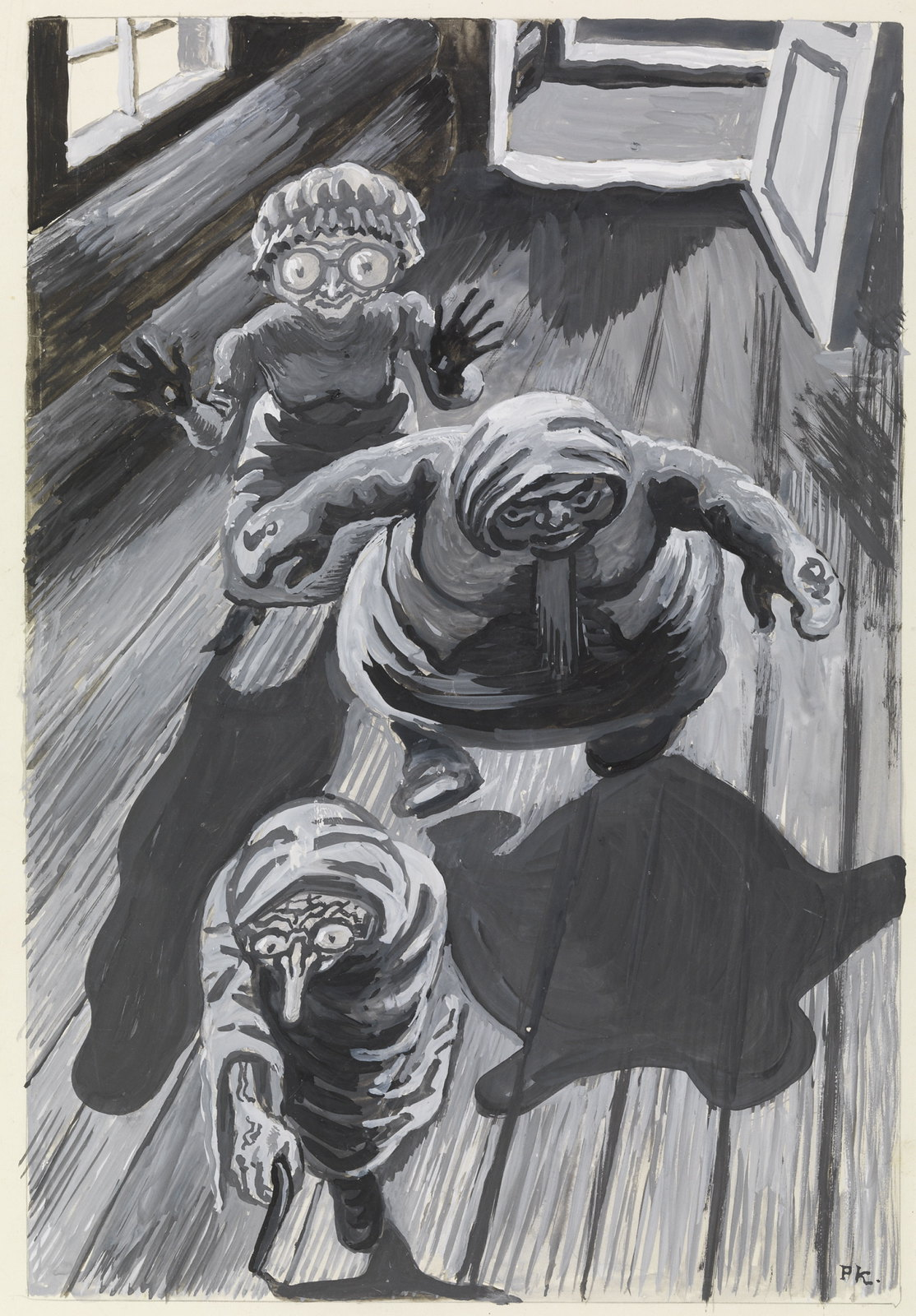 """Per Krohg - """" How in the world can my bride , who is so beautiful, have such loathsome mis-shapen Aunts ? """"Illustration to """" The Three Most Pure"""" , P. Chr . Asbjörnsen and J. Moe , The Fairy , 1936"""