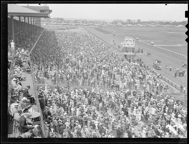 Crowd and horses wait, Suffolk Downs