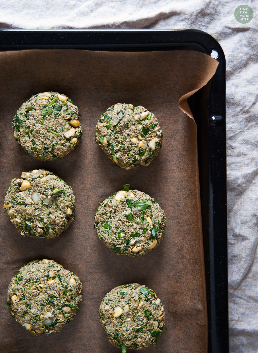 Baked protein tofu burgers with spinach and sweetcorn