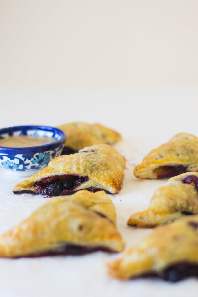 Blueberry and Apple Borekas with Honey Tahini