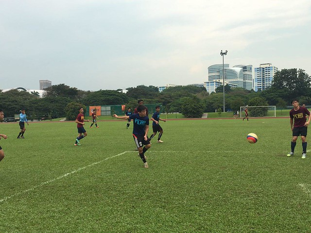 Benedict (Y1) starting an attack with a long pass.
