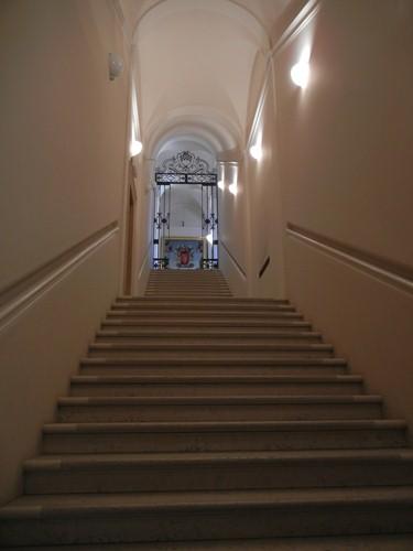 DSCN3773 _ Staircase and Assunzione di Santa Maria Maddalena, Maestro della Maddalena Assunta, Pinacoteca Nazionale (Palazzo Diamanti), Ferrara, 17 October