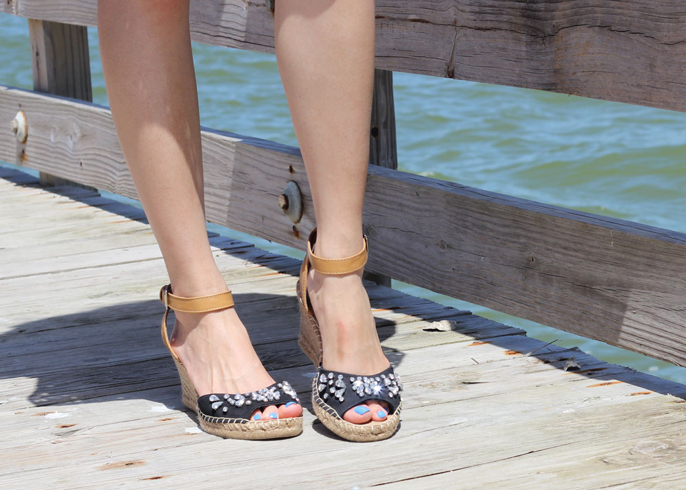 White Mountain jeweled sandals