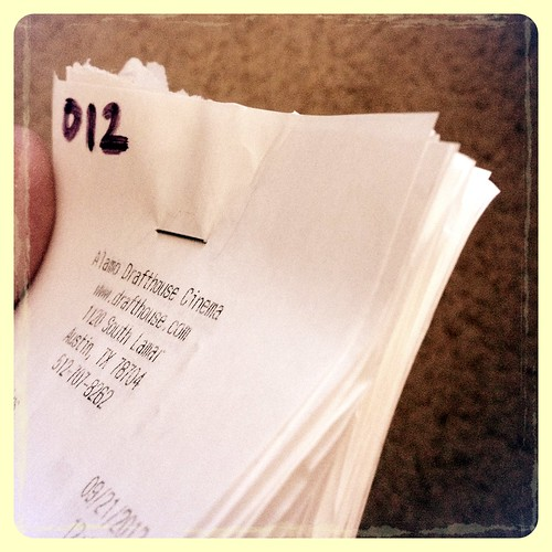 Sorting my 2012 receipts. This is the stack just for the Alamo Drafthouse, which is over 1,000 miles from my apartment. | by Chebutykin
