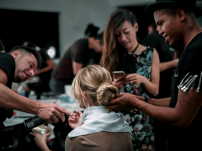alice olivia nyfw backstage braided bun