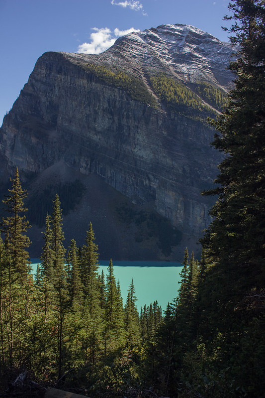 Glimpse of Lake Louise from the Lake Agnes teahouse trail