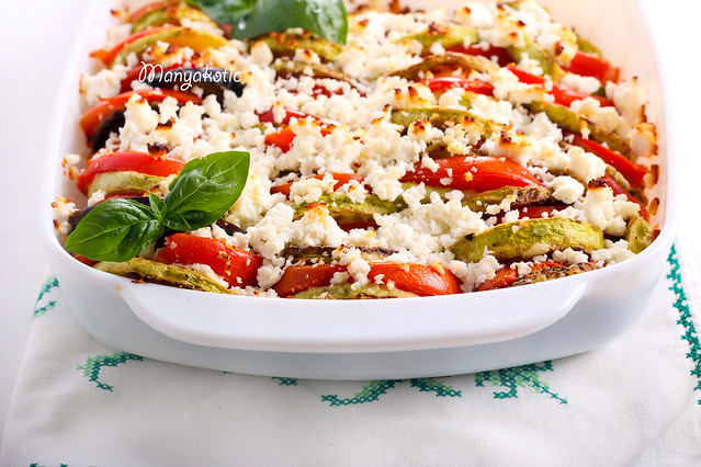 Zucchini, tomato and feta cheese bake
