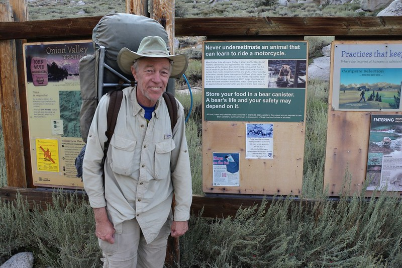 Me in Onion Valley at the Kearsarge Pass Trail Trailhead Sign