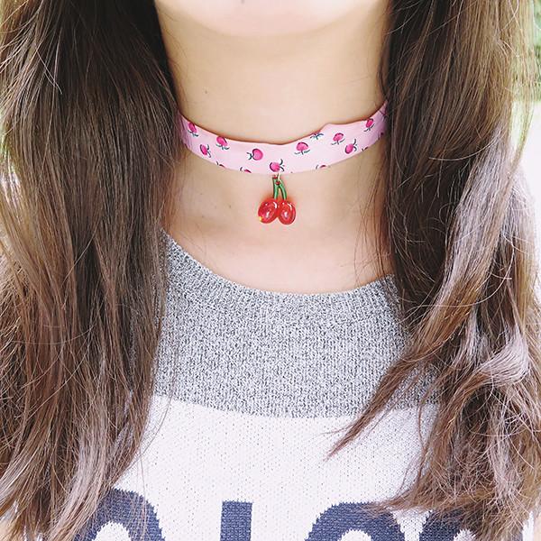 cherry pink choker