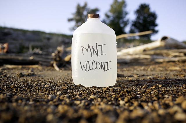 Watter in a gallon pastic bottle
