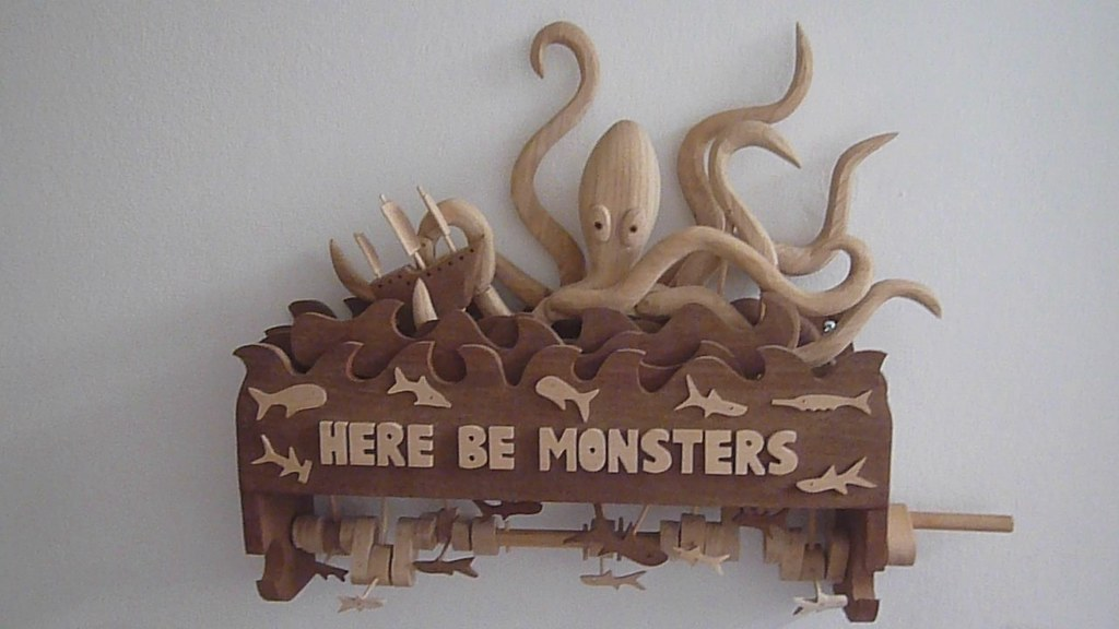 Here Be Monsters - The Kracken (wall mounted)