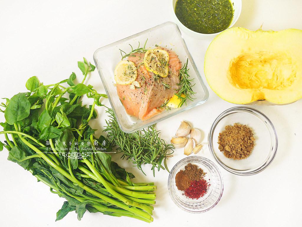 孤身廚房-烤鮭魚排佐香料烤南瓜及蒜香皇宮菜4