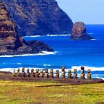 Ahu Tongariki view - Rano Raraku moai - statues - Easter Island - Rapa Nui - Isla de Pascua
