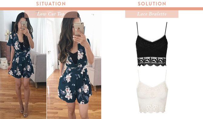 lace bralette under plunge low cut tops