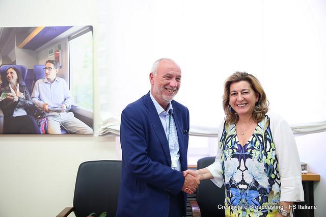 Maurizio Manfellotto AD Hitachi Rail Italy e Barbara Morgante AD Trenitalia