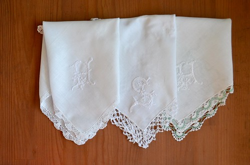 Handmade Embroidery White-on-White Monogram Handkerchiefs