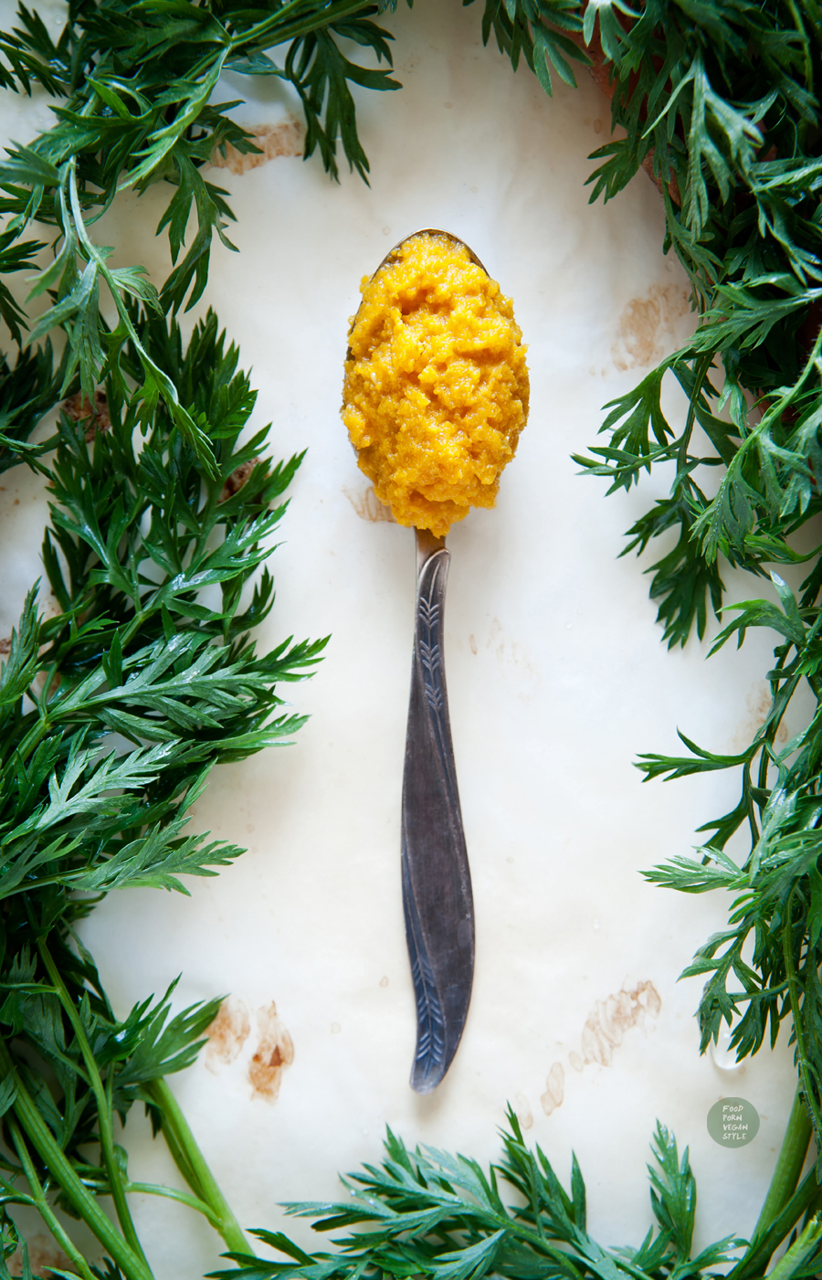 Carrot chutney with cumin, ginger and turmeric