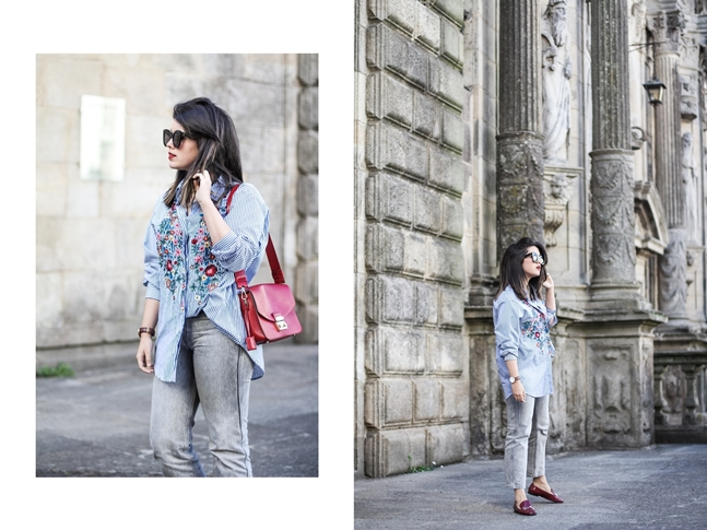 striped embroidered blouse zara flowers with levis mom jeans furla metropolis bag gucci loafers streetstyle outfit