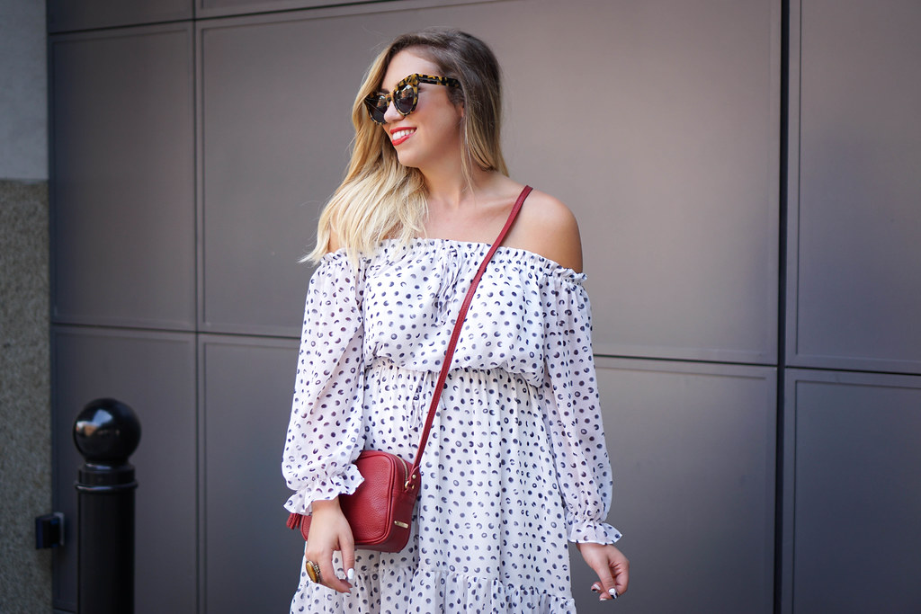 DVF Inspired Off Shoulder Dotted White Dress GiGi New York Monogrammed Red Crossbody Bag Studded Sandals NYFW Outfit Summer Style Living After Midnite Jackie Giardina
