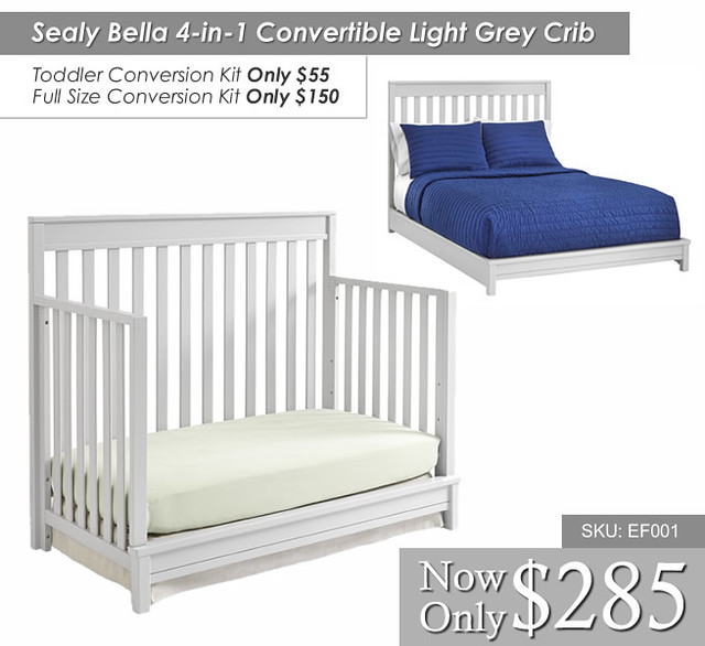 Sealy Bella 4 in 1 Convertible Light Grey Crib2