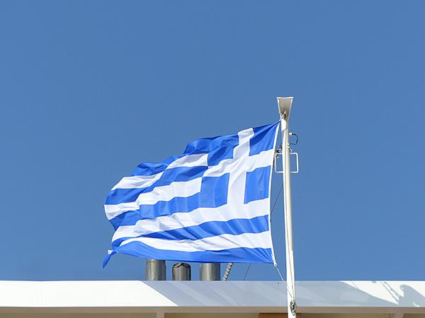 le drapeau grec sur le Patmos