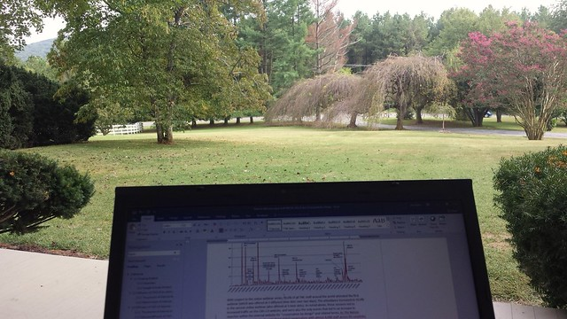 Science writing outside at briar patch b&b