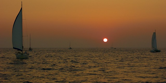 Stunning sunset on the Aegean Sea