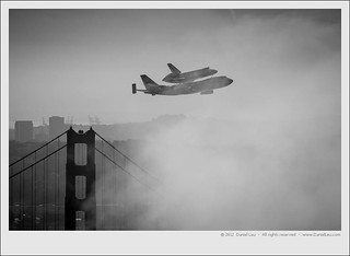 Space Shuttle Endeavour over SF with Golden Gate Bridge Tower | by Daniel Leu