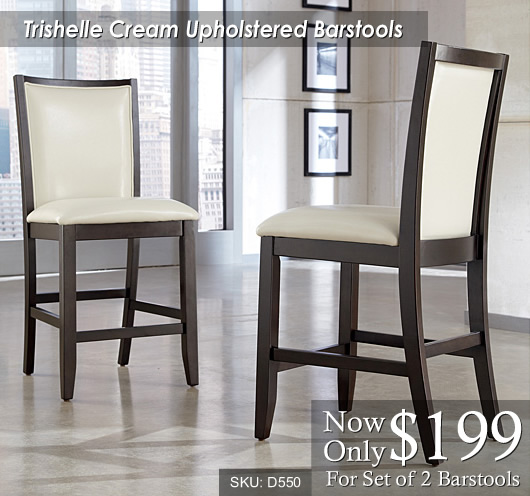 Trishelle Cream Upholstered Bar Stools