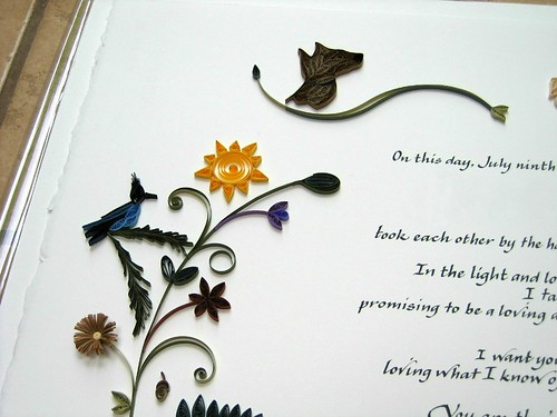 Quilled Marriage Certificate - Woodland Detail