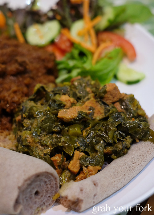 Ethiopian gomen be-sega beef with collard greens at Aaboll Cafe, Merrylands