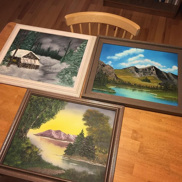Framing a few paintings... One is going to the fair.
