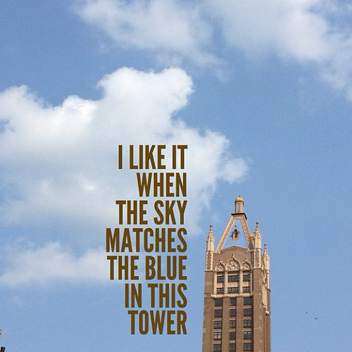 I like it when the sky matches the blue in this tower | by spudart
