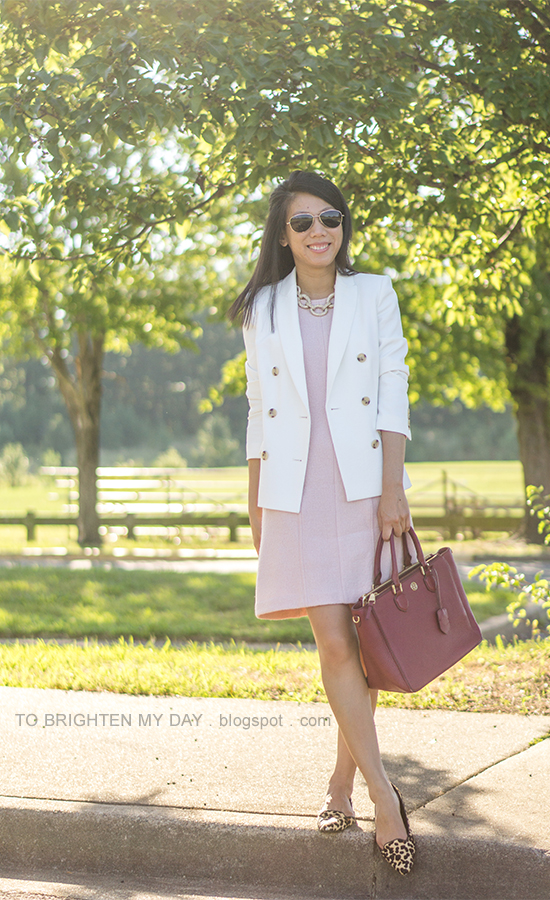 white blazer, pave chain link necklace, pink wool shift dress, red purple tote, leopard flats