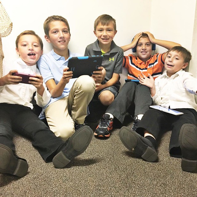 Good boys in church and Sunday school get a little video game time!