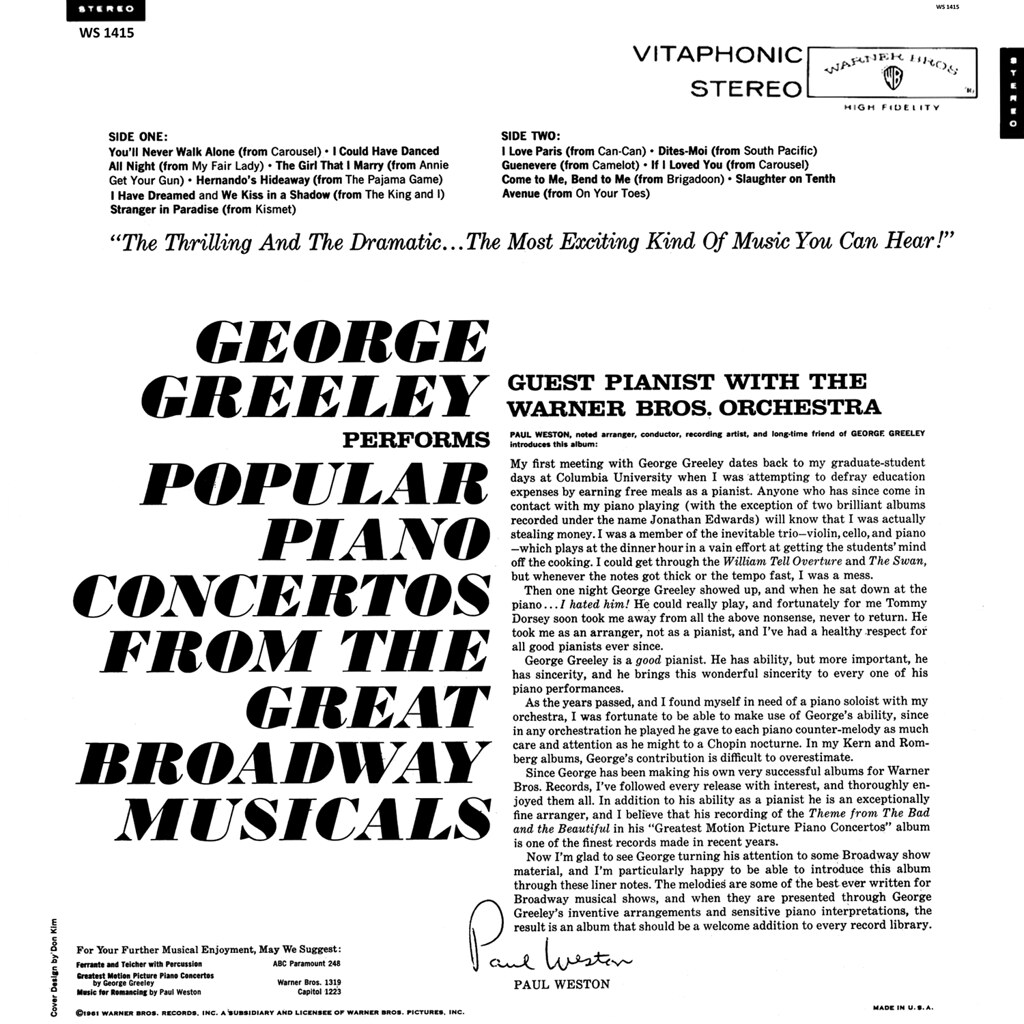 George Greeley ‎- Popular Piano Concertos From The Great Broadway Musicals b